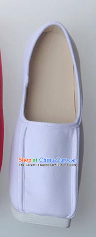 Chinese Traditional Ming Dynasty Taoist White Shoes Handmade Hanfu Shoes Ancient Scholar Shoes for Men