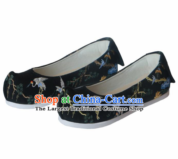 Chinese Traditional Handmade Black Satin Shoes Opera Shoes Hanfu Shoes Ancient Princess Shoes for Women