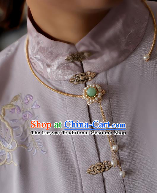 Chinese Traditional Ming Dynasty Precious Stones Pearls Necklace Handmade Ancient Princess Necklet Accessories for Women