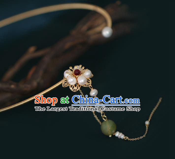 Chinese Traditional Ming Dynasty Precious Stones Pearls Plum Necklace Handmade Ancient Princess Necklet Accessories for Women