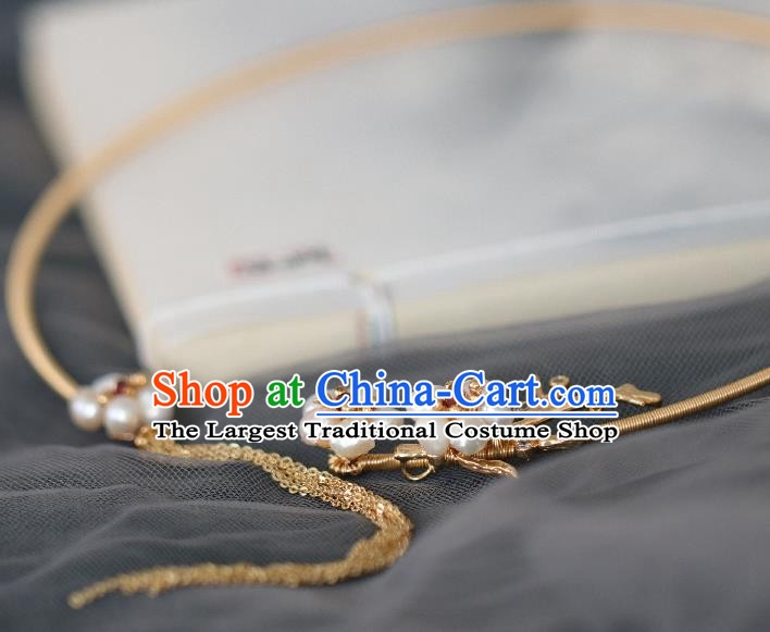 Chinese Traditional Ming Dynasty Pearls Precious Stones Necklace Handmade Ancient Princess Necklet Accessories for Women