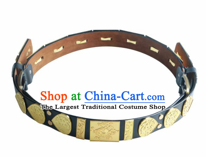 Traditional Chinese Ming Dynasty Leather Belt Ancient Imperial Guards Waistband for Men