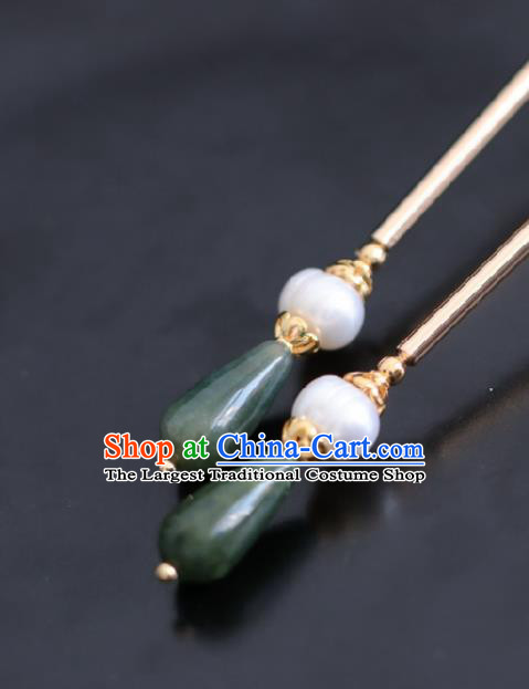 Chinese Handmade Ming Dynasty Queen Green Stone Hairpins Ancient Hanfu Hair Accessories for Women