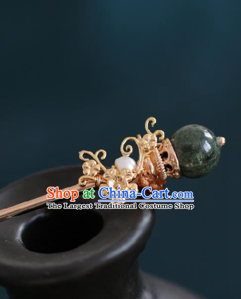 Chinese Handmade Ming Dynasty Queen Green Bead Hairpins Ancient Hanfu Hair Accessories for Women