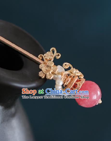 Chinese Handmade Ming Dynasty Queen Rosy Bead Hairpins Ancient Hanfu Hair Accessories for Women