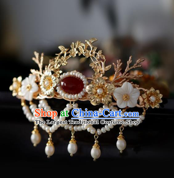 Chinese Handmade Ming Dynasty Queen Pearls Tassel Hairpins Ancient Hanfu Hair Accessories for Women