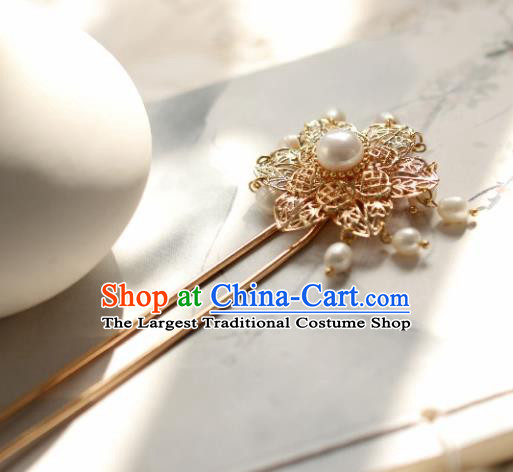 Chinese Handmade Ming Dynasty Queen Pearls Golden Hairpins Ancient Hanfu Hair Accessories for Women