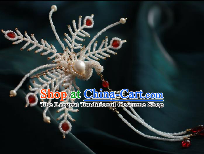 Chinese Handmade Ming Dynasty Queen White Beads Phoenix Tassel Hairpins Ancient Hanfu Hair Accessories for Women