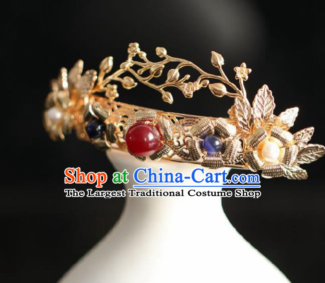 Chinese Handmade Ming Dynasty Queen Golden Hairpins Ancient Hanfu Hair Accessories for Women