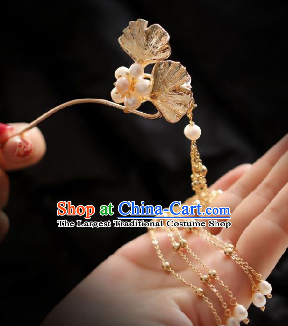 Chinese Handmade Ming Dynasty Queen Golden Ginkgo Leaf Tassel Hairpins Ancient Hanfu Hair Accessories for Women