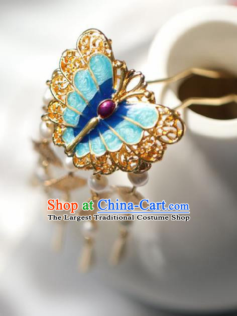 Chinese Handmade Ming Dynasty Queen Blue Butterfly Hairpins Ancient Hanfu Hair Accessories for Women