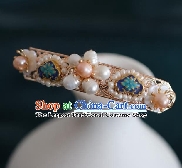 Chinese Handmade Ming Dynasty Queen Blue Lotus Pearls Hairpins Ancient Hanfu Hair Accessories for Women