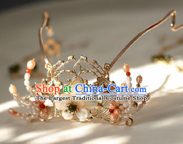 Chinese Handmade Ming Dynasty Queen Pearls Hair Crown Hairpins Ancient Hanfu Hair Accessories for Women