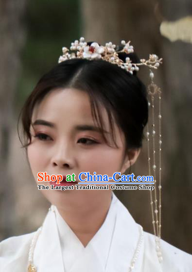 Chinese Handmade Ming Dynasty Queen Shell Pearls Hair Crown Hairpins Ancient Hanfu Hair Accessories for Women