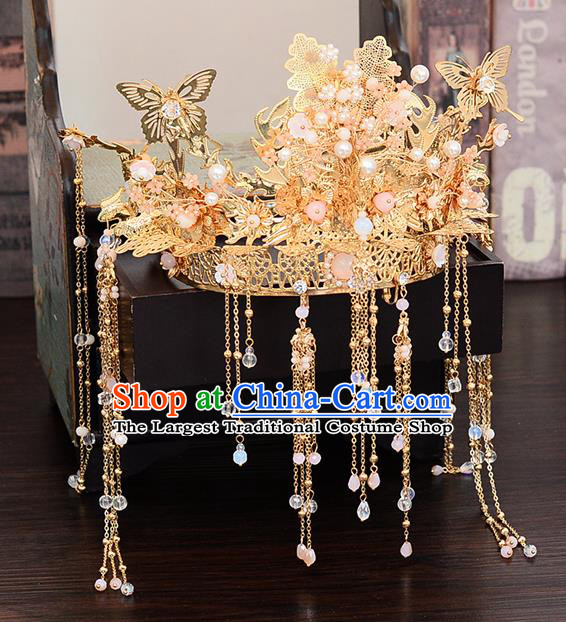 Chinese Traditional Wedding Queen Golden Butterfly Hair Crown Hairpins Handmade Bride Hair Accessories for Women