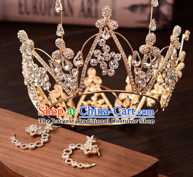 Top Handmade Bride Crystal Round Royal Crown Wedding Hair Accessories for Women