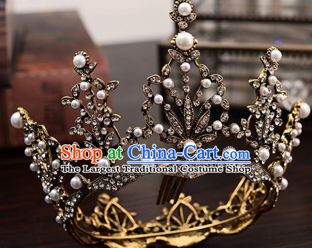 Top Handmade Baroque Princess Round Royal Crown Wedding Bride Hair Accessories for Women