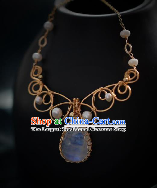 Chinese Traditional Ming Dynasty Moonstone Necklace Handmade Ancient Princess Necklet Accessories for Women