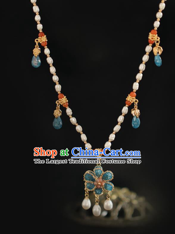Chinese Traditional Ming Dynasty Pearls Necklace Handmade Ancient Princess Necklet Accessories for Women