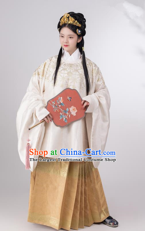 Traditional Chinese Ming Dynasty Princess White Brocade Blouse Ancient Nobility Lady Historical Costumes for Women