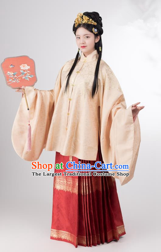 Traditional Chinese Ming Dynasty Palace Lady Apricot Brocade Blouse and Skirt Ancient Royal Infanta Historical Costumes for Women