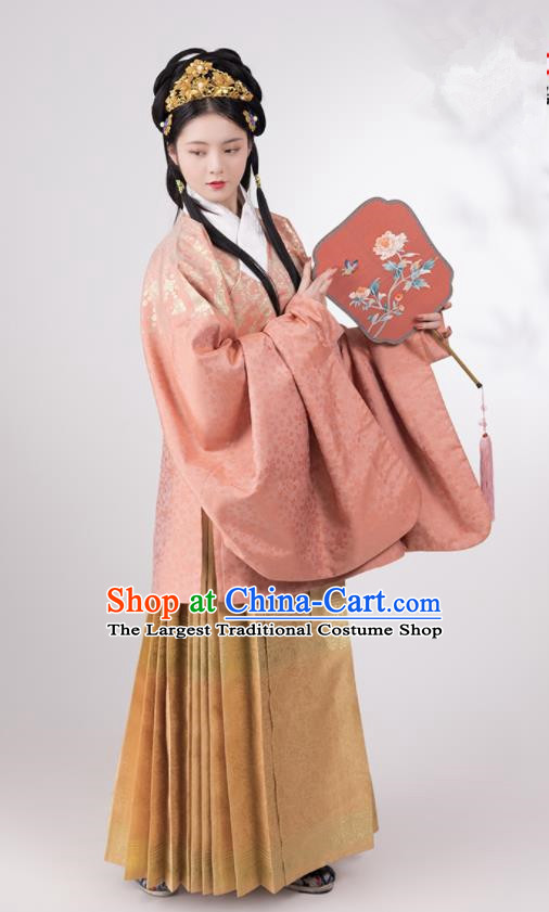 Traditional Chinese Hanfu Pink Brocade Blouse and Skirt Ancient Ming Dynasty Royal Infanta Historical Costumes for Women