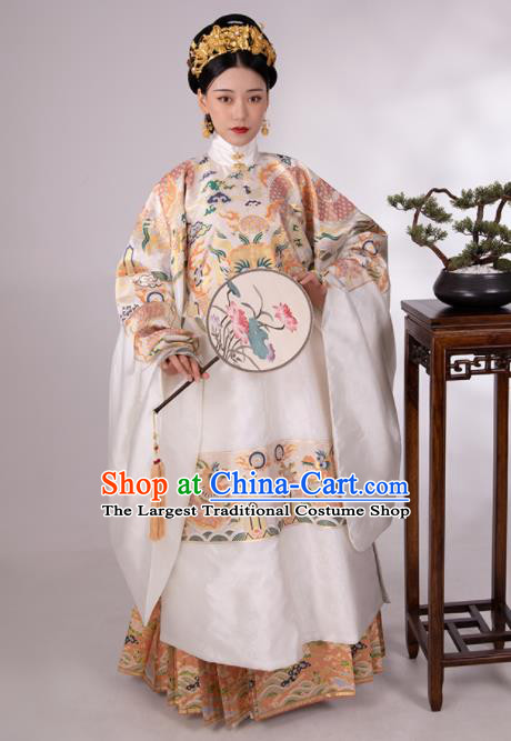 Traditional Chinese Hanfu White Brocade Robe and Skirt Ancient Ming Dynasty Imperial Empress Historical Costumes for Women