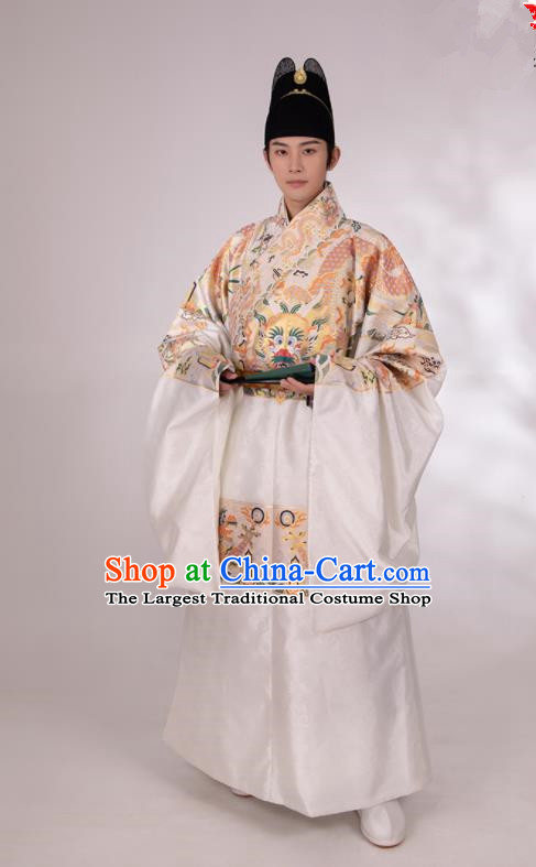Traditional Chinese Hanfu Court White Brocade Imperial Robe Ancient Ming Dynasty Emperor Historical Costumes for Men