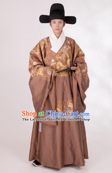Traditional Chinese Scholar Hanfu Brown Brocade Robe Ancient Ming Dynasty Minister Historical Costumes for Men