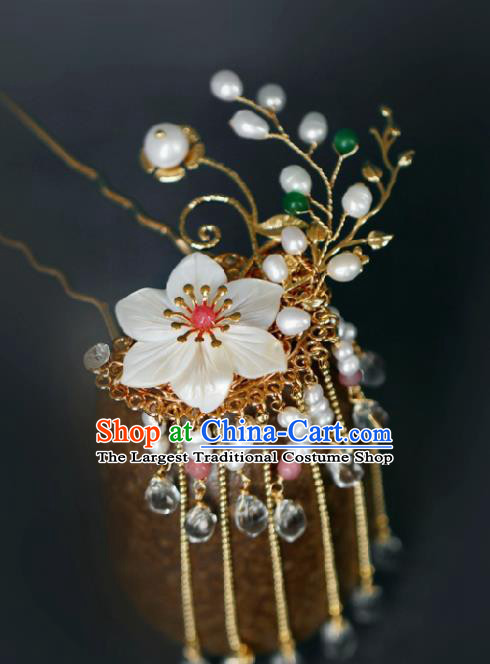 Chinese Handmade Ming Dynasty Princess Golden Tassel Hairpins Ancient Hanfu Hair Accessories for Women