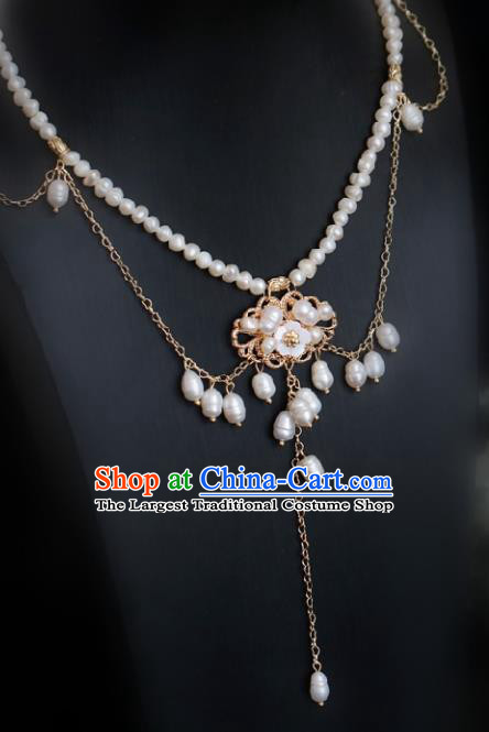 Chinese Traditional Ming Dynasty Pearls Tassel Necklace Handmade Ancient Princess Jewelry Accessories for Women