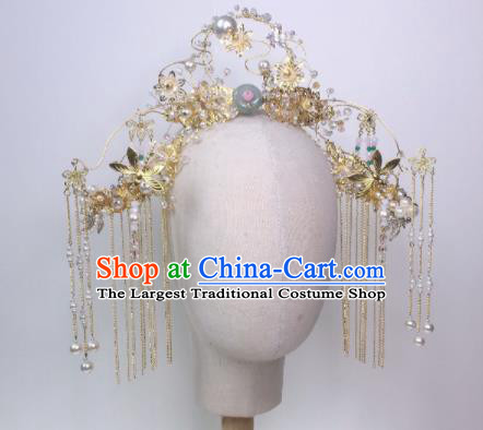 Chinese Traditional Hanfu Wedding Golden Tassel Hair Crown Handmade Ancient Princess Hair Accessories for Women