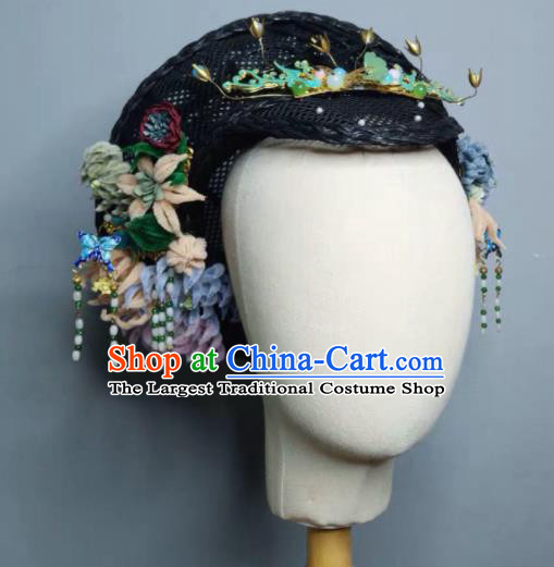 Chinese Handmade Qing Dynasty Manchu Imperial Consort Hat Phoenix Coronet Ancient Empress Hair Accessories for Women