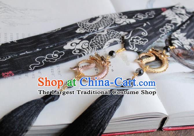 Chinese Traditional Hanfu Ming Dynasty Black Ribbon Dragon Headband Handmade Ancient Princess Hair Accessories for Women