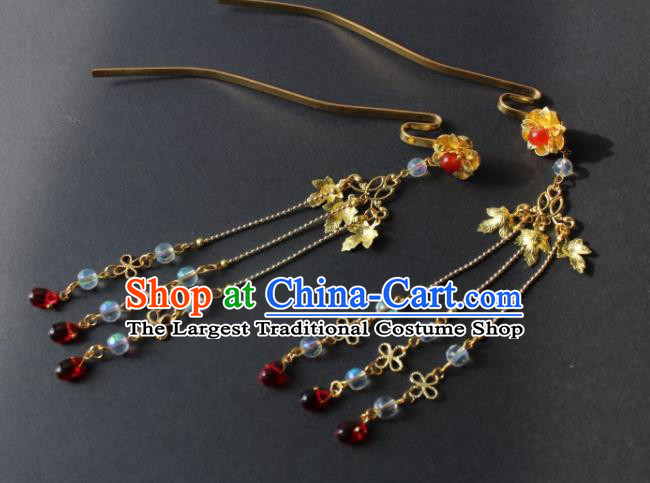 Chinese Handmade Ming Dynasty Princess Golden Leaf Tassel Hairpins Ancient Hanfu Hair Accessories for Women