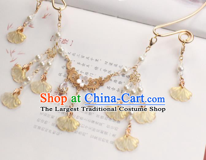 Chinese Traditional Hanfu Ginkgo Leaf Necklace Handmade Ancient Princess Necklet Accessories for Women