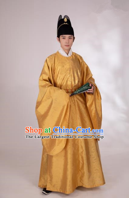 Traditional Chinese Hanfu Golden Silk Imperial Robe Ancient Ming Dynasty Emperor Historical Costumes for Men