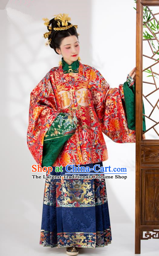 Traditional Chinese Ming Dynasty Palace Queen Wedding Red Dress Ancient Empress Historical Costumes for Women