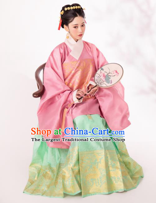 Traditional Chinese Ming Dynasty Royal Infanta Pink Blouse and Green Skirt Ancient Nobility Lady Historical Costumes for Women