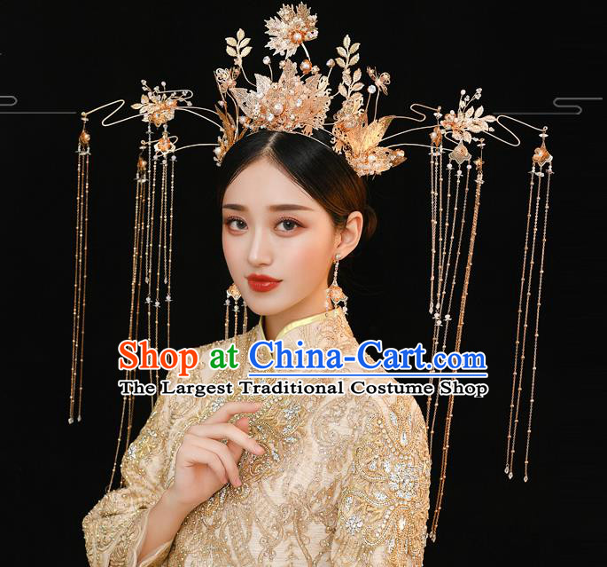 Traditional Chinese Handmade Wedding Golden Leaf Tassel Phoenix Coronet Ancient Bride Hair Accessories for Women