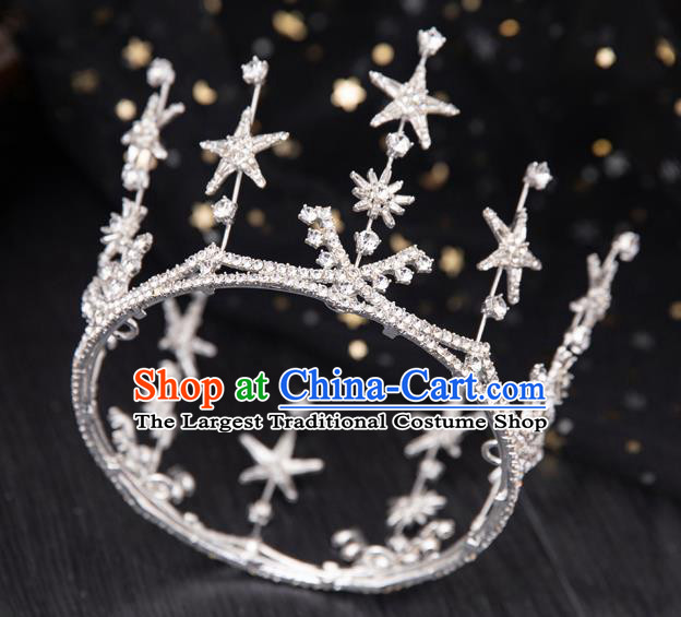 Top Handmade Wedding Bride Crystal Star Round Royal Crown Baroque Princess Hair Accessories for Women