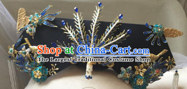 Chinese Handmade Qing Dynasty Cloisonne Phoenix Hairpins Hat Ancient Manchu Imperial Consort Hair Accessories for Women