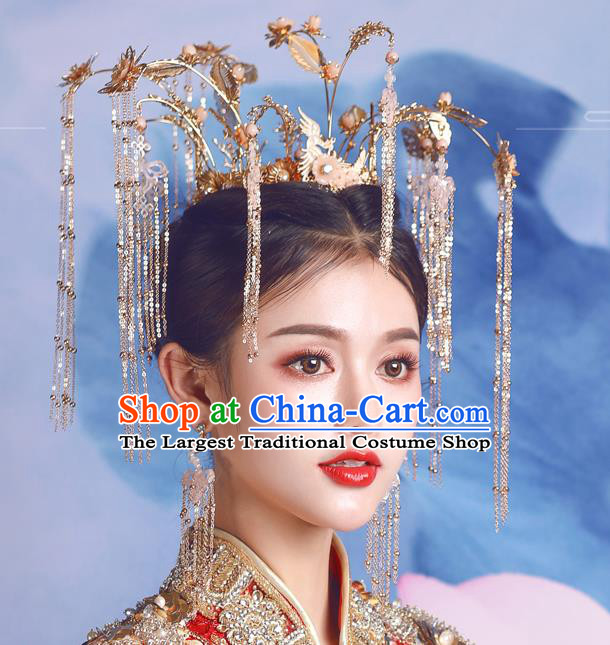 Traditional Chinese Wedding Luxury Golden Phoenix Coronet Hairpins Handmade Ancient Bride Hair Accessories for Women