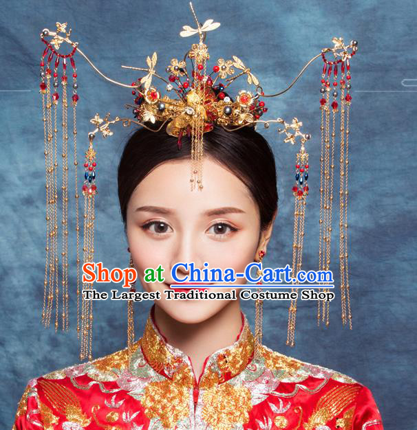 Traditional Chinese Wedding Luxury Dragonfly Phoenix Coronet Hairpins Handmade Ancient Bride Hair Accessories for Women