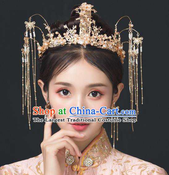 Traditional Chinese Wedding Luxury Tassel Phoenix Coronet Hairpins Handmade Ancient Bride Hair Accessories for Women