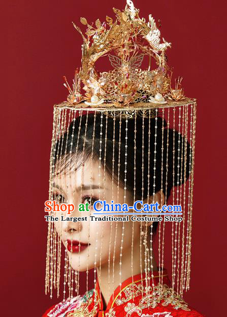 Traditional Chinese Wedding Luxury Phoenix Coronet Hairpins Handmade Ancient Bride Hair Accessories for Women
