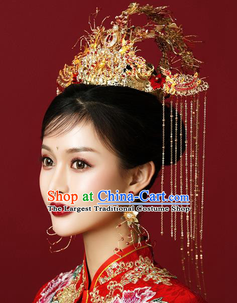 Traditional Chinese Wedding Luxury Red Gem Phoenix Coronet Hairpins Handmade Ancient Bride Hair Accessories for Women
