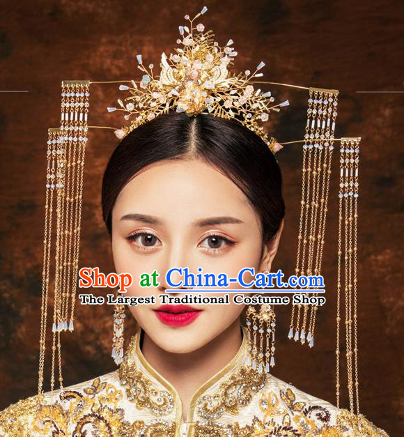 Traditional Chinese Wedding Luxury Crane Phoenix Coronet Hairpins Handmade Ancient Bride Hair Accessories for Women