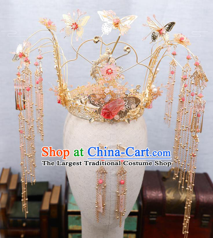 Traditional Chinese Wedding Golden Butterfly Phoenix Coronet Hairpins Handmade Ancient Bride Hair Accessories for Women