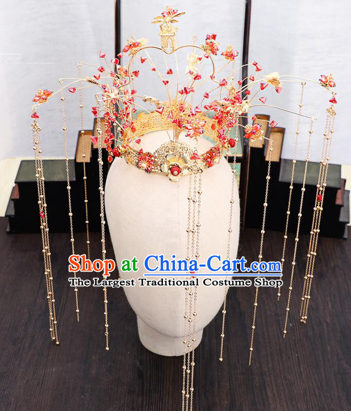 Traditional Chinese Wedding Red Beads Phoenix Coronet Hairpins Handmade Ancient Bride Hair Accessories for Women